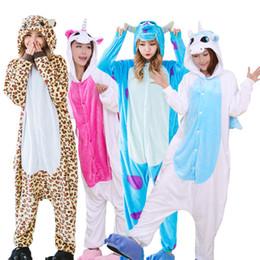 Panda Cartoon Color Australia - Warm Flannel Pajamas Adults Animal Pajamas Sets Cartoon Unicorn Panda Stitch Halloween Sleepwear Cosplay For Women Men Onsies