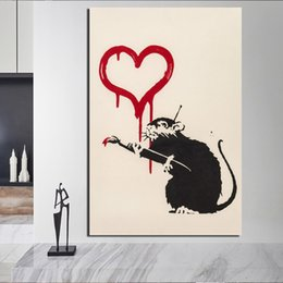 $enCountryForm.capitalKeyWord NZ - Banksy Rats Graffiti Canvas Painting Prints Living Room Home Decoration Modern Wall Art Oil Painting Posters Pictures Framework