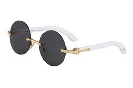 bd9133ac4daab4 weiße buffalo horn brille randlose sonnenbrille designer marke gold metall  weiße holzrahmen runde brillen lunettes kommen mit boxen
