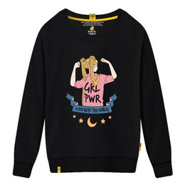 Yellow hoodies for girls online shopping - New Brand Women s Sweater Round Neck Collar with Beautiful Girl Print Sweatshirts for Women Causal Loose Designer Hoodies Long Sleeve Cotton