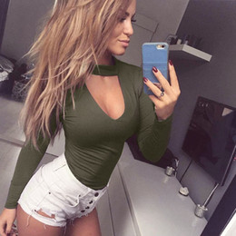 Body Fitness Suit Australia - Sexy Womens Long Sleeve Bodysuit Choker Romper Deep V Neck Bodycon Body Suit One Piece Fitness Overalls For Women