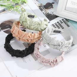 fresh sticks UK - Pleated Headband Solid Color Simple Fresh Hairbands Head Hoop Hair Accessories Fashion Women Girls Bezel Headwear