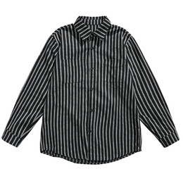 Wholesale vertical striped shirt mens for sale – dress Stylish Mens Striped Large Size Shirts Long Sleeves Vertical Striped Shirts For Men Shirt Men Loose Mens Casual Clothing II50CS