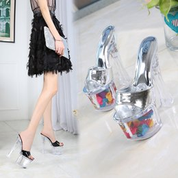 transparent beach shoes Australia - Fascinating2019 Coarse Shoes Wine Glass With Silver Patent Leather Noodles Waterproof Platform Flower Transparent Crystal Princess Cool