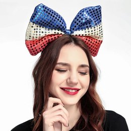 Headbands Bow Australia - 2019 European and American fashion new ladies sequins bow multicolor headband Halloween Christmas cute party headdress
