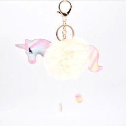 Jewelry & Accessories Soft Rubber Unicorn Keychain With Pom Pom Plush Toy Unicorn Key Pendant Stuffed Animal Toys Kids Girls Bag Hang Pendant Comfortable Feel Key Chains