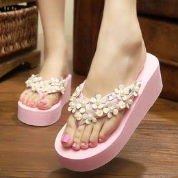 ElEgant flip flops online shopping - Women Slipper Sandals Wedges slippers Platform Leather Peep toe Crystal Elegant Female Sandals Ladies Summer Shoes flip flops