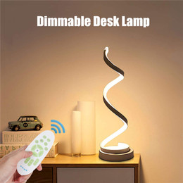 Wholesale natures table for sale - Group buy LED Spiral Table Lamp Modern Curved Desk Bedside Lamp Dimmable White Warm White Nature White Light for Living Room Bedroom