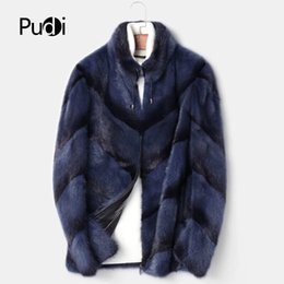 Mink Long Jacket Australia - PUDI MT8108 Men fashion real mink fur jackets with stand collar brand new fall winter warm casual outwear thick