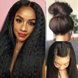 straight human hair full lace wigs Australia - Kinky Straight Human Hair Full Lace Wig For Black Women Pre Plucked Italian Yaki Lace Front Wigs With Baby Hair