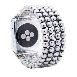 $enCountryForm.capitalKeyWord Australia - 38mm 42mm Hematite Apple Watch Band 4 Rows 6mm Silver Beads Watch Strap For iWatch Elastic Bracelet Wrist Band