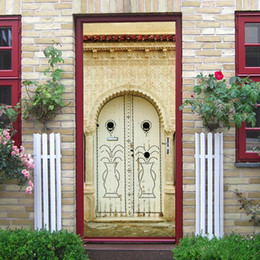 $enCountryForm.capitalKeyWord UK - 2Pcs Set 3D Muslim Arab Culture Stickers Old Door Renovation Living Room Door Creative Home Decoration Removable Wall Sticker