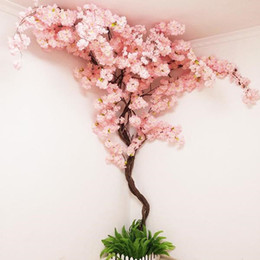 tree vines Canada - Artificial Cherry tree Vine Fake Cherry Blossom Flower Branch Sakura Tree Stem for Event Wedding Tree Deco Artificial Decorative Flowers