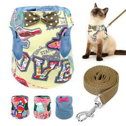 jeans for small dogs NZ - Bowknot Dog Cat Harness and Leash 120cm Denim Padded Jean Harness Pet Print Vest For Small Dogs Cats Kitten Puppy Chihuahua