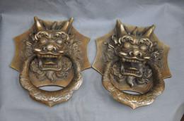 Dragon Dogs Australia - China Fengshui Bronze Foo Dog Dragon Kylin Door Holder Gate Knockers a pair