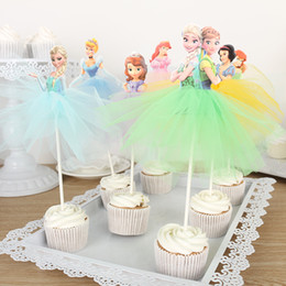 Girls Cupcake Australia - Whole Sale 10 X Handmade Princess Cupcake Girls Birthday Party Decoration Supply Mermaid cinderella Cake Toppers Q190606