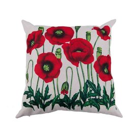 Wholesale cotton anniversary gift online – design Enchanting Beautiful Oil Painting Red Poppy Flowers Gift Anniversary Day Present Cotton Linen Home Decorative Throw Pillow Cas Pillow Case