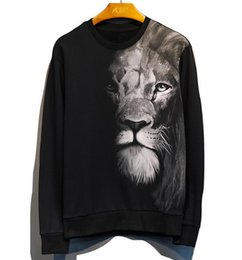 f3b3df906784 New 2019 Men Women Personality 3D Lion Print Black Sweater Couple Cotton  Round Neck Pullover Sweater Coat