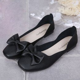 Woman Shoes Low Heels NZ - 2019 Dress Women Shallow Bowknot Square Toe Buckle Low Heel Shoes Pointed Single Shoes