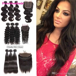body deep wave closure Canada - Water Wave Deep Wave Cheap Brazilian Kinky Curly Human Hair 3 Bundles with Frontal Straight Body Wave Bundles with Closure frontal lace hair