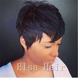 $enCountryForm.capitalKeyWord Australia - Brazilian Nature Wave Virgin Hair Short Human Hair Wigs For Black Women All Machine Made Wigs For Men Natural Black Color
