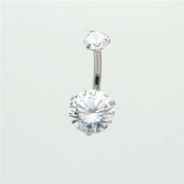surgical body gems NZ - Clear CZ Zircon Belly Bar Navel Button Ring 8mm 9mm 10mm Round Surgical Steel Body Piercing Jewelry Double Gem Wholesale