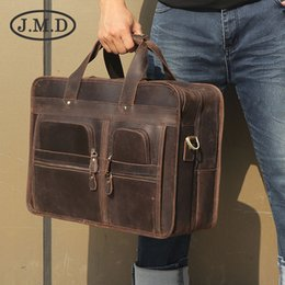 Computers 17 Inch Australia - J.M.D New Multi-Pocket Briefcase Retro Real Leather Handbag Crazy Horse Leather 17-inch Computer Business Bag 7387
