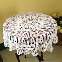 hand crocheted tablecloths 2020 - Hand Woven Crochet Tablecloth Cotton Hollow Lace Round Table Cover Cloth For Family Tablecloths And Coffee Shops discoun