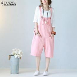 5367409ea82 Plus Size Palazzo Pants Australia - Plus Size Linen Overalls Women  Jumpsuits ZANZEA 2019 Pants Strap