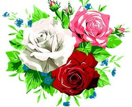 $enCountryForm.capitalKeyWord UK - 16x20'' Colorful White Pink Red Rose Flowers DIY Paint By Numbers Kits On Canvas Art Acrylic Oil Painting