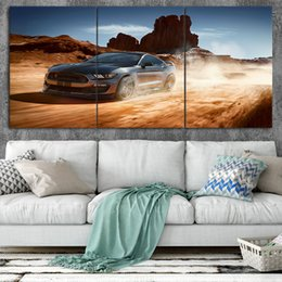 $enCountryForm.capitalKeyWord Australia - Ford mustang Art Poster Wall Art Prints oil painting on 3 Piece Canvas Picture Wall Painting For Living Room No Frame