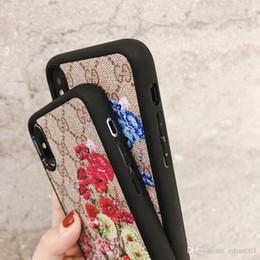 impression de marque fleurs mode téléphone couverture cas pour iPhone 6 6s 7 8 8plus XR X couverture arrière pour Apple iphone x xr 7 plus cas pour iphone xs max en Solde