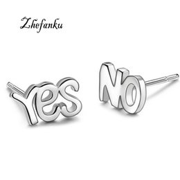 Wholesale New Fashion Cute Silver Plated YES or NO Letter Stud Earrings For Women Asymmetry Piercing Earrings Jewelry Accessories