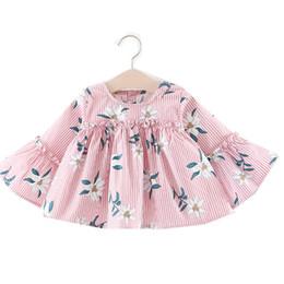 Korean Baby Flowers Canada - Little Girls Flower Print Dresses Tops Spring 2019 Kids Boutique Clothing Korean 1-4T Baby Cotton Girls Flare Sleeves Tops Dresses Cute