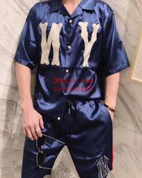 $enCountryForm.capitalKeyWord Australia - 2019 Summer Men Tracksuit Long lapel blue letter printed short sleeve T-shirt+Casual loose Jogger shorts pants top quality men clothes FG-1
