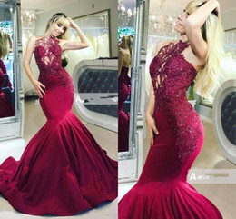 taffeta jackets women NZ - Burgundy Mermaid Prom Formal Dresses 2019 Modest Lace Applique Beadwork Trumpet Women Runway Occasion Evening Wear Gowns
