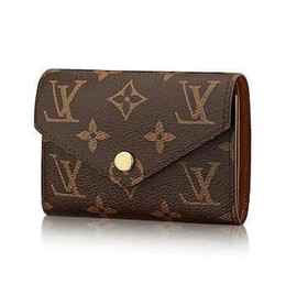 Chinese  M62472 VICTORINE WALLET old flowers brown Real Caviar Lambskin Chain Flap Bag LONG CHAIN WALLETS KEY CARD HOLDERS PURSE CLUTCHES EVENING manufacturers