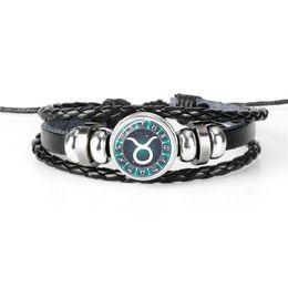 $enCountryForm.capitalKeyWord NZ - New Style Hot Sale Leather Rope Bead Bracelet 12 Horoscope Zodiac Taurus Time Gem Glass Cabochon Button Charm BBangles For Women Men Jewelry