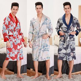 Wholesale male silk bathrobe resale online - spring and autumn period and the new long robe male man long pajamas bathrobe silk robe leisurewear