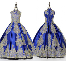 China 2019 Modest Royal Blue Gold Lace Applique Girls Pageant Dresses Ruched Lace-up Chinese Style Flower Girl Dress Communion First Holy Gowns cheap holy beads suppliers