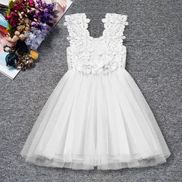 blue green tutu Australia - Summer Flower Lace Dress Princess Kids Baby Girls Sleeveless Dress 0-2T Floral Christening Gown Tulle Party Wedding Dress