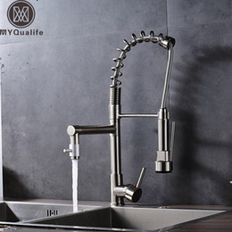 Kitchen Faucet Nickel Australia - Brushed Nickel Water Ridge Kitchen Faucet Double Spout Sprinkle Kitchenaid Faucet Deck Mounted Spring Pull Down Sprayer Head