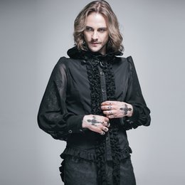 Historical dress online shopping - Devil Fashion Gothic Men Shirt Ruffle High Collar Historical Victorian Noble s Shirt