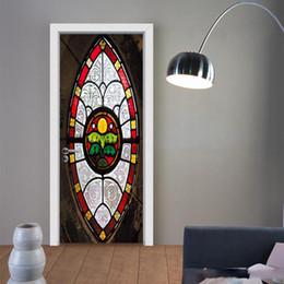 $enCountryForm.capitalKeyWord Australia - 2Pcs Set 3D Muslim Style DIY Door Art Mural Sticker Self-adhesive PVC Wooden Door Wall Stickers Home Decor