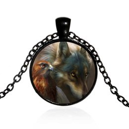 $enCountryForm.capitalKeyWord Canada - Cross-border hot vintage alloy sweater chain wolf and eagle time gemstone necklace foreign trade jewelry wholesale 4 color optional
