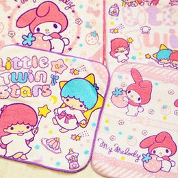 Compress Cartoon Towel Australia - Kawaii Cartoon Printed Face Square Towel Little Twin Star My Melody Hello Kitty Absorbent Cotton Hand Towel Kids Christmas Gifts