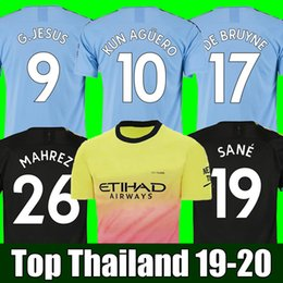 Wholesale Top Thailand JESUS DE BRUYNE KUN AGUERO manchester soccer jerseys city SANE jersey football KIT shirt adult and kids sets