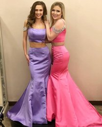 Beaded Rhinestones Mermaid Prom Dress Australia - Charming Lilac Mermaid Prom Dresses 2 Pieces Off Shoulder Rhinestones Beaded Sequins Satin Evening Gowns Robes De Cocktail Party Pageant