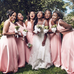 $enCountryForm.capitalKeyWord Australia - African Arabic Light Pink A Line Chiffon Long Bridesmaid Dresses 2019 Cheap Summer Beach V Neck Corset Back Wedding Guest Party Gowns