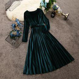$enCountryForm.capitalKeyWord Australia - 2019 spring autumn new women round neck long sleeve waist velvet dress female O-neck vintage elegant pleated dresses T5190613